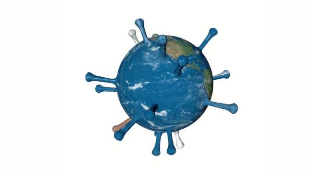 en 4k 3d-video rendering av planeten jorden snurrar som en coronavirus covid-19 - inflatable ring bildbanksvideor och videomaterial från bakom kulisserna