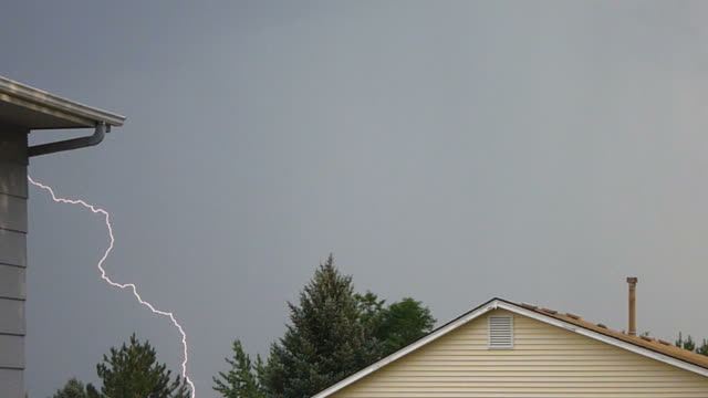 HD video repeated lightning strikes over Denver homes video