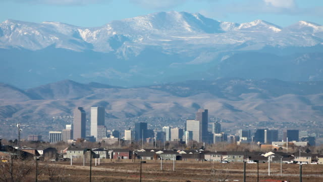 HD video Rocky Mountains and Denver Colorado traffic video