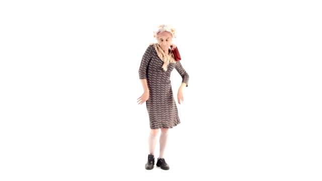 HD video senior grandma isolated on white dancing