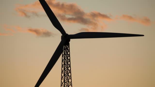 HD Video Sunrise renewable wind turbine Palm Springs California video