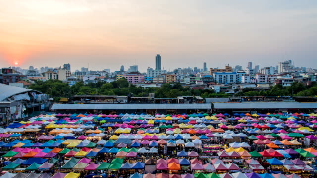 Video Timelaps at Night market, Bangkok, Thailand video
