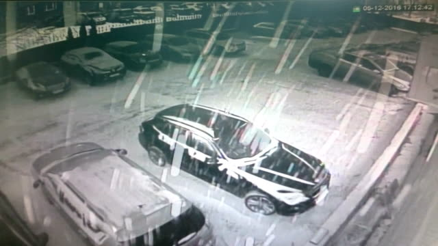 Video view from security camera - surveillance cctv - winter snow street video