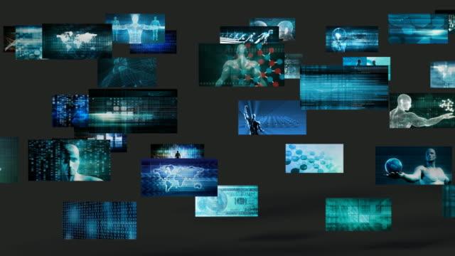 video wall abstract con concetto di schermi tecnologici aziendali - fotografia immagine video stock e b–roll