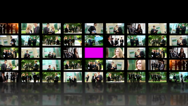 Video wall business people video