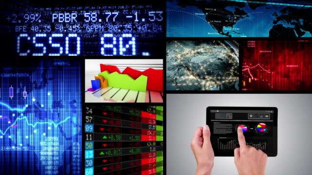 Video wall. Financial themed videos. Alpha matte. video