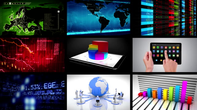 Video wall. Financial themed videos. Loopable. video