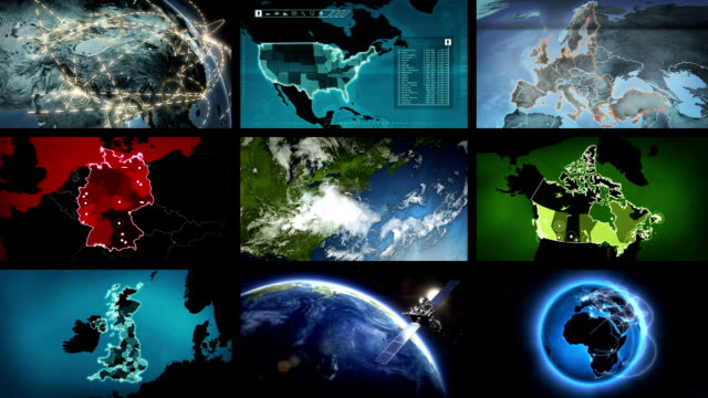 Video wall. Geography themed videos. Black background. Alpha matte. video