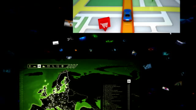 Video wall. Geography themed videos falling. Loopable. video