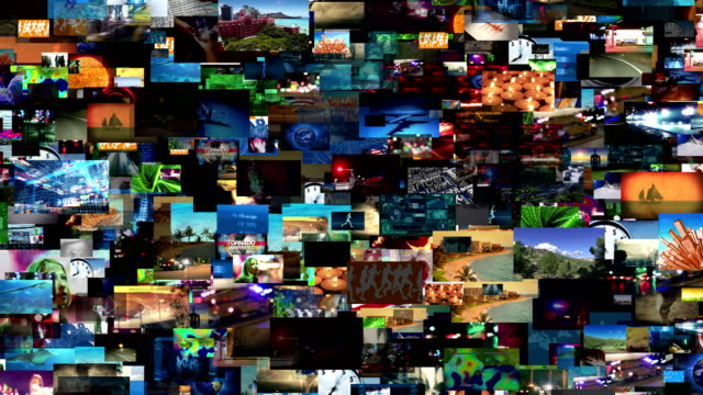 Video Wall Media Montage (Loop) Video wall of streaming media. All videos in this animation are available in our portfolio as individual clips. All property/model releases on file. Seamless looping video. multiple image stock videos & royalty-free footage