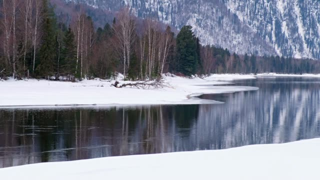 Video waters of Altai river Biya in winter season video
