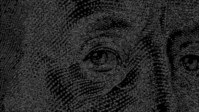 Video with a Hundred Dollar Bill Processed Through Artificial Intelligence. Threads Background