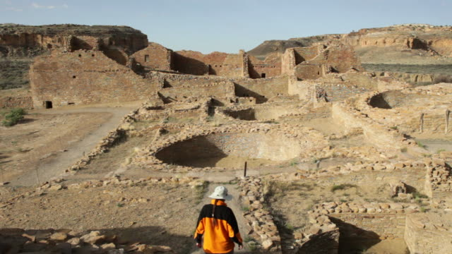 HD video woman explores ancient ruins Chaco Canyon NHP video