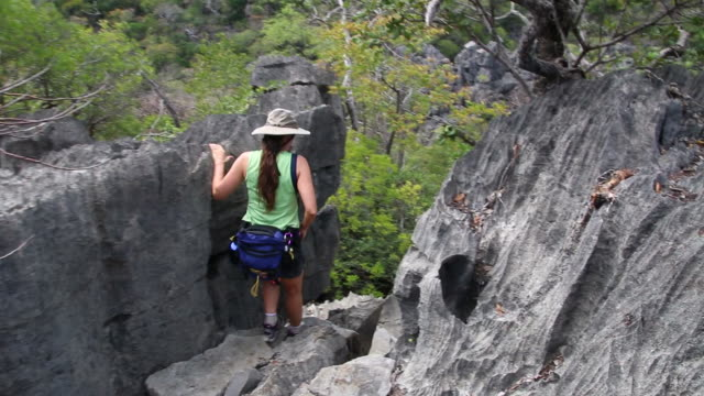 hd video woman hikes through ankarana reserve tsingy rock formations madagascar - madagaskar bildbanksvideor och videomaterial från bakom kulisserna