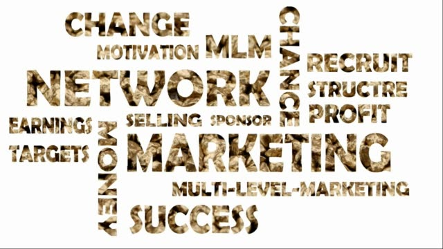 Video word cloud with words from the area network marketing