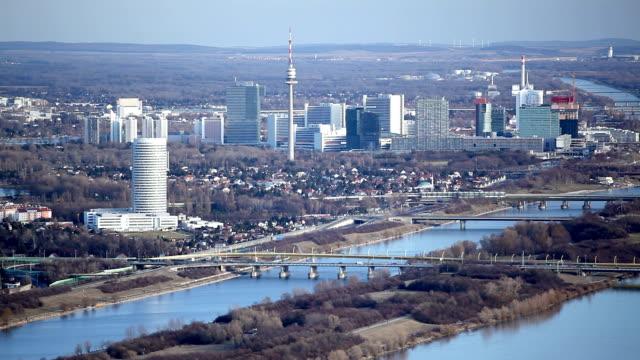 Vienna at blue danube river video