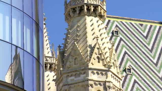 Vienna Cathedral and Modern Glass Facade PAN video
