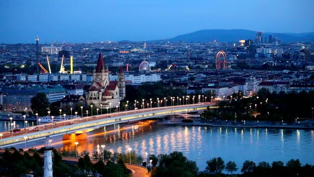 Vienna cityscape at night video