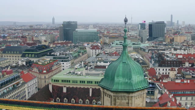Vienna cityscape on a cloudy day, Austria. FullHD overview pan shot video