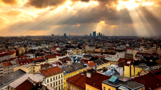 Vienna Cityscape Time Lapse - Zoom In