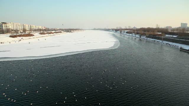 Vienna, frozen danube in winter video