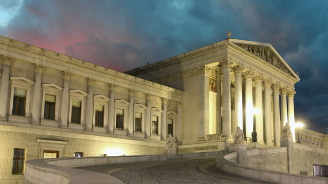 Vienna Parliament at sunset - time lapse video