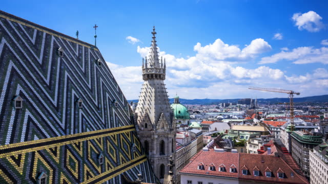 vienna skyline from st. stephens cathedral - австрия стоковые видео и кадры b-roll