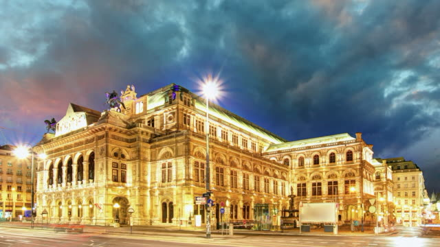 Vienna Staatsoper at night, Austria - Time lapse video