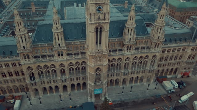 Vienna's Rauhaus aerial shot, seat of mayor and city council. Vienna city hall aerial drone footage.