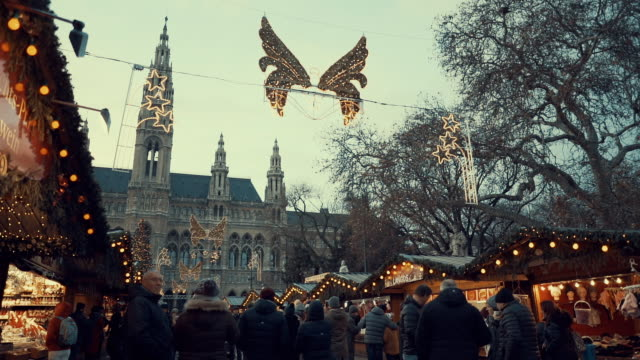 vienna's rauhaus during the christmas market in winter, seat of mayor and city council. christmas crowd front of vienna city hall. - австрия стоковые видео и кадры b-roll