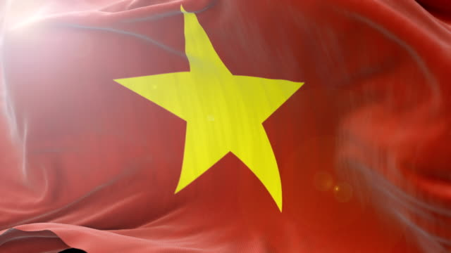 vietnam flag slow waving background. 4k close up flag waving. seamless loop - politica e governo video stock e b–roll