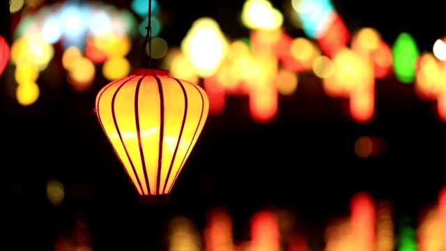 Vietnamese illuminated Lamps in Market at Night, Hoi An, Vietnam video