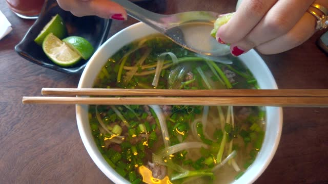 vídeos de stock e filmes b-roll de vietnamese soup pho bo - exotismo