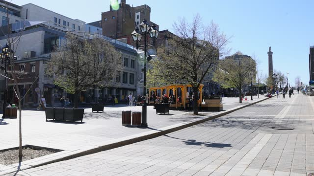 Vieux Montreal Place Jacques Cartier on a clear Springtime day