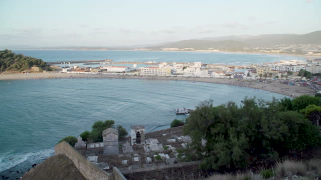 View across the bay to Tunisian town of Tabarka and castle