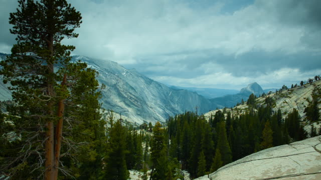 view across Yosemite national park towards the half dome