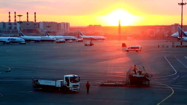 View at Domodedovo airport territory, Moscow video