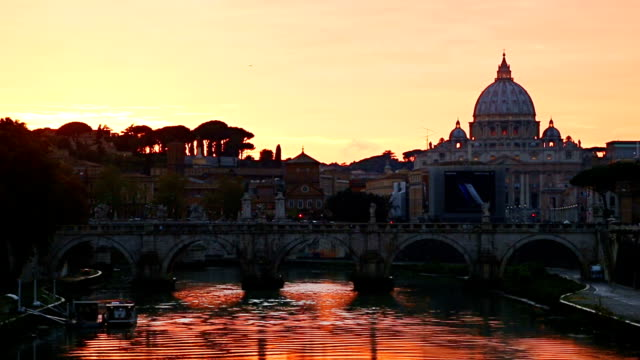 View at Tiber and St. Peter's cathedral in Rome, Italy video