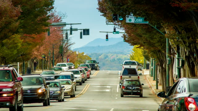 View Down Asheville City's Patton Avenue Towards Blue Ridge Mountains video
