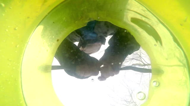 View from a bottom of a plastic bucket in which the man video