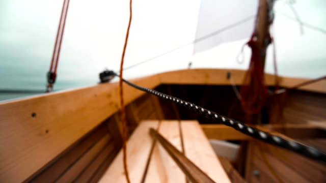 View from a tall ship classic sailboat video