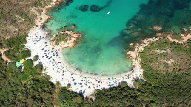 vídeos de stock, filmes e b-roll de vista de acima, vista aérea impressionante de uma praia bonita banhou-se por um mar desobstruído de turquesa. spiaggia del principe, costa smeralda (costa esmeralda) sardinia, italy. - esmeralda
