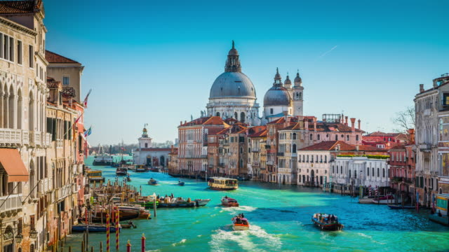 view from accademia bridge on grand canal in venice - italian architecture stock videos & royalty-free footage