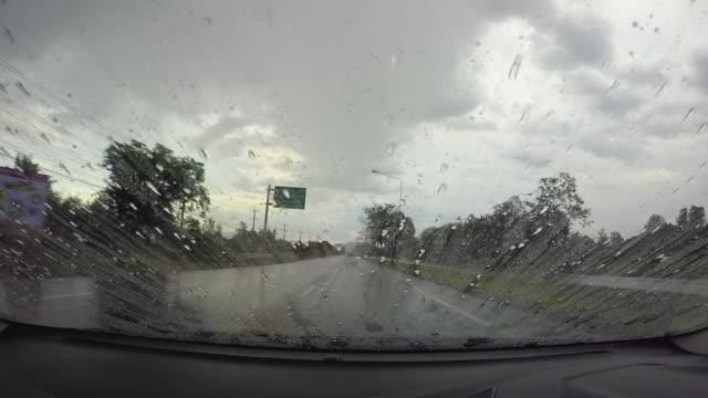 View from action camera in raining day video