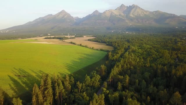 View from air on the Slovakia field. Landscape from air video
