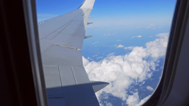 View from airplanes window during the flight video