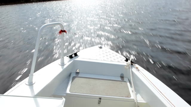 View from boat bow when fast moving over water video