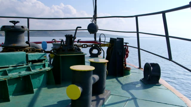 View from bow of commercial fishing vessel video