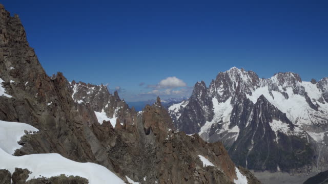 view from cablecar of mont blanc panoramic - monte bianco video stock e b–roll