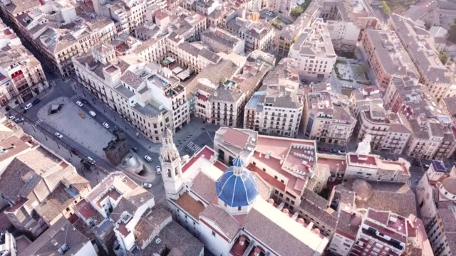 View from drone of residential areas of Spanish town of Alcoy